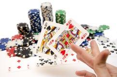 Wining hand för poker med fick- Queens Arkivbilder