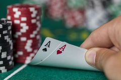 Wining Poker hand. On a texas hold'en table stock images