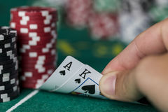 Wining Poker hand Stock Images
