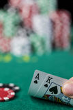 Wining Poker hand Stock Photo