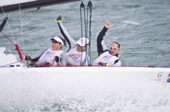 Wining women on quest for Olympic sailing gold. Royalty Free Stock Photography