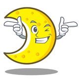Wink crescent moon character cartoon Stock Photo