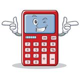 Wink cute calculator character cartoon Royalty Free Stock Photography
