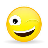 Wink emoji. Happy emotion. Hint emoticon. Cartoon style. Vector illustration smile icon. Wink emoji. Happy emotion. Hint emoticon Stock Photo