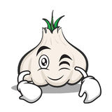 Wink face garlic cartoon character. Vector illustration Stock Photography