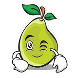 Wink face pear character cartoon Royalty Free Stock Image