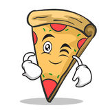 Wink face pizza character cartoon. Vector illustration Stock Image