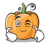 Wink face pumpkin character cartoon style. Vector illustration Royalty Free Stock Photos