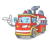 Wink fire truck character cartoon. Vector illustration Stock Images
