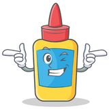 Wink glue bottle character cartoon Stock Image