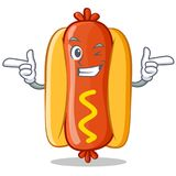 Wink Hot Dog Cartoon Character Photos stock