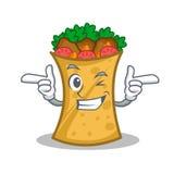 Wink kebab wrap character cartoon. Vector illustration royalty free illustration
