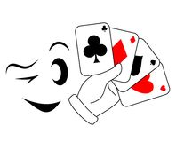 Wink poker. Draw poker player with a wink Royalty Free Stock Images