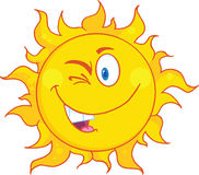Winked Sun Cartoon Mascot Character Royalty Free Stock Images
