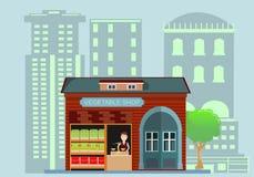 winkel en mensen verkopende groenten en vruchten, vlakke stijl Stock Foto's