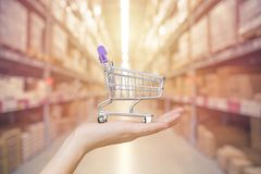 Winkel en Opslagbeheersconcept: Handboodschappenwagentje stock foto's