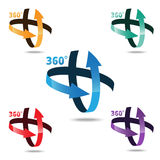 Winkel 360 Grad Zeichenikone stock abbildung
