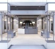 Winkel met glasvensters en deuren Stock Foto