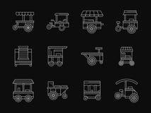 Winkel op pictogrammen van de wielen de witte vlakke lijn Stock Foto