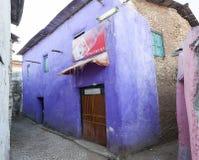 Winkel in smalle stegen van oude stad van Jugol Harar ethiopië royalty-vrije stock foto