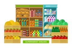 Winkel, supermarktbinnenland Stock Foto