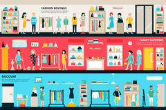 Winkelcentrum en Boutiquezalen het vlakke Web van het winkel binnenlandse concept Van de de Klantenwandelgalerij van manierkleren royalty-vrije illustratie