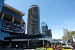 Winkelcomplex, hotels en residentials in Levent, Istanboel in Turkije Stad, bureau stock fotografie