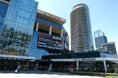 Winkelcomplex, hotels en residentials in Levent, Istanboel in Turkije Stad, bureau stock afbeelding