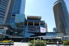 Winkelcomplex, hotels en residentials in Levent, Istanboel in Turkije Stad, bureau stock foto