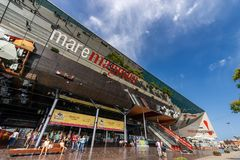 Winkelcomplex Maremagnum - Barcelona Spanje stock afbeelding