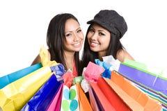 Winkelend Aziatisch meisje Royalty-vrije Stock Foto's