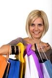 Winkelend blonde meisje Stock Foto