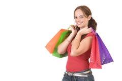 Winkelend meisje? Stock Foto's