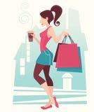 Winkelend meisje royalty-vrije illustratie