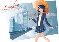Winkelend meisje in Londen Stock Afbeeldingen