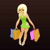 Winkelend sexy meisje met pakketten Stock Foto