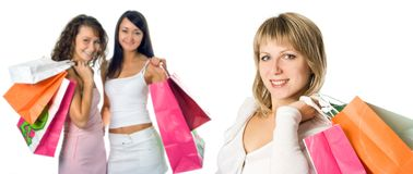 Winkelend vrouwenteam Stock Fotografie