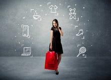 Winkelend wijfje met zakken en getrokken pictogrammen Royalty-vrije Stock Afbeelding