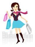 Winkelende Dame stock illustratie
