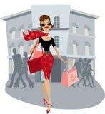 Winkelende dame Stock Afbeelding