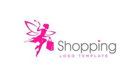 Winkelende Fee Logo Template Stock Afbeelding