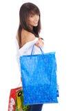 Winkelende gelukkige vrouw. Stock Foto