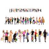 Winkelende groep mensen met kleurrijke zakken stock afbeeldingen