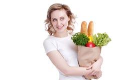 Winkelende jonge vrouw Stock Foto's