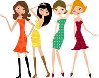 Winkelende meisjes Stock Foto