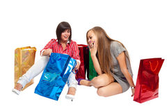 Winkelende meisjes Royalty-vrije Stock Afbeelding