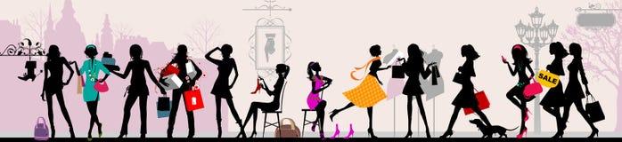 Winkelende meisjes, Parijs. royalty-vrije illustratie