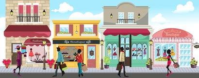 Winkelende mensen stock illustratie