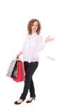 Winkelende mooie vrouw Royalty-vrije Stock Fotografie