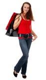 Winkelende mooie vrouw over witte achtergrond Royalty-vrije Stock Fotografie
